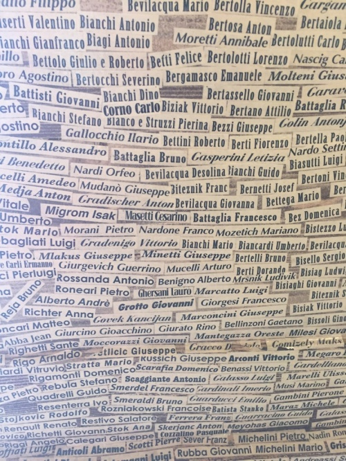 The names of all of the Italians sent to concentration camps are pasted on the wall.