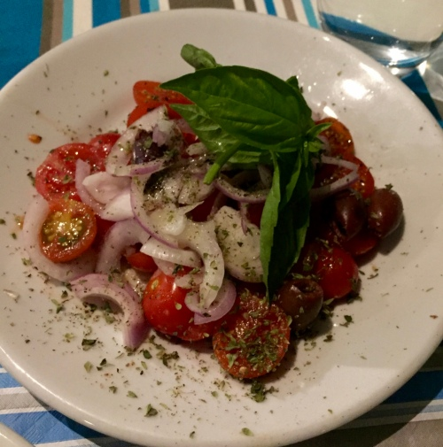 And the very excellent Sicilian salad of tomatoes, onion, capers and basil, which we had at every meal